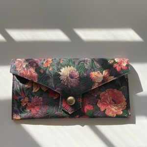 Vintage Floral Leather Clutch